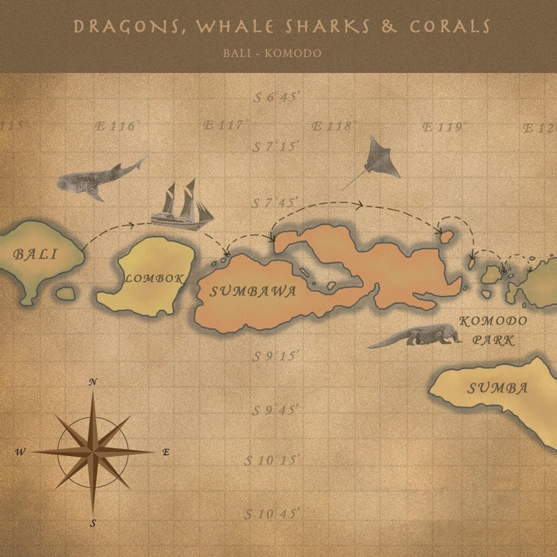 Route map of Whale Sharks, Corals & Dragons: Komodo-Bali small ship Indonesia cruise, operating between Bali to Flores.