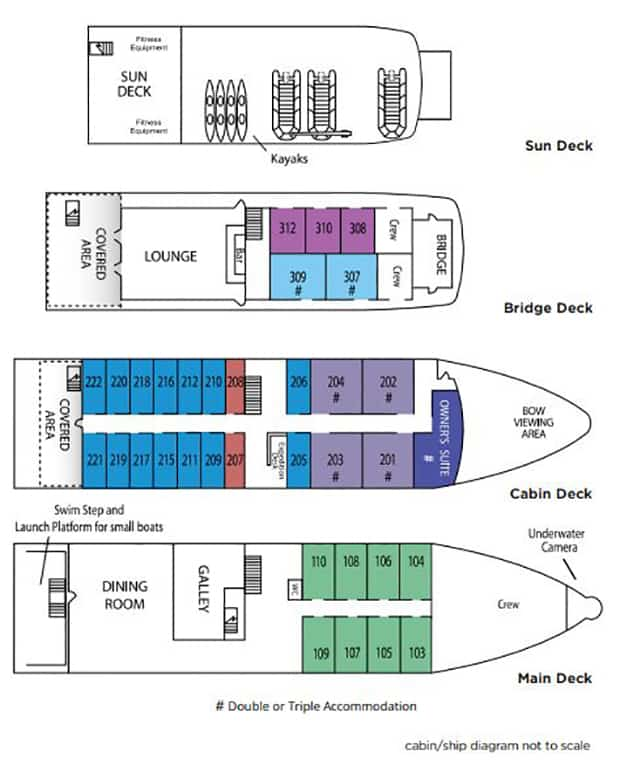 Safari Voyager small ship deck plan with 4 renderings