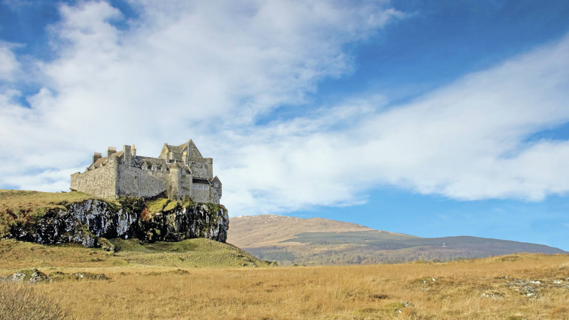 Castle Duart perched on the cliff over looking the Loch on Isle of Mull Scotland
