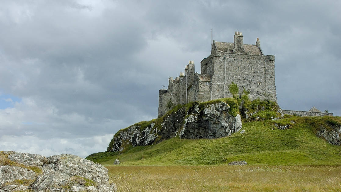 Duart Castle , Isle of Mull, Scotland perched up on the green cliffs
