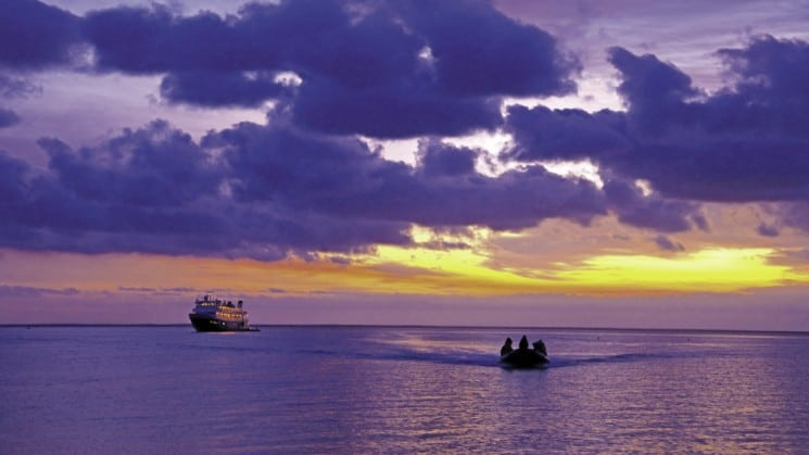 purple sky at sunset on southern california to baja: sailing the pacific coast small ship cruise