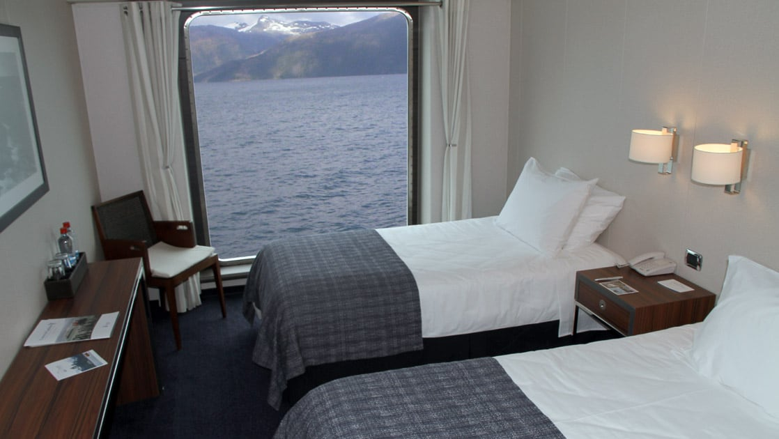 Category AAA cabin aboard Stella Australis with two twin beds.