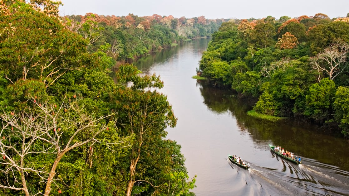 Aerial view of two canoes going down a calm river through the jungle in brazil