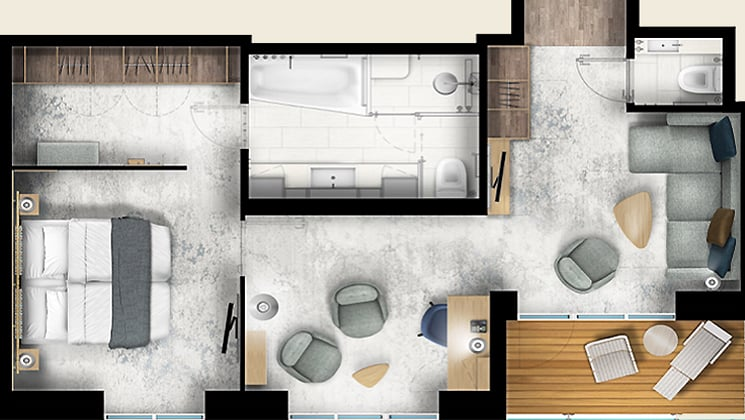 Rendering of the Owners Suite cabin aboard Ultramarine
