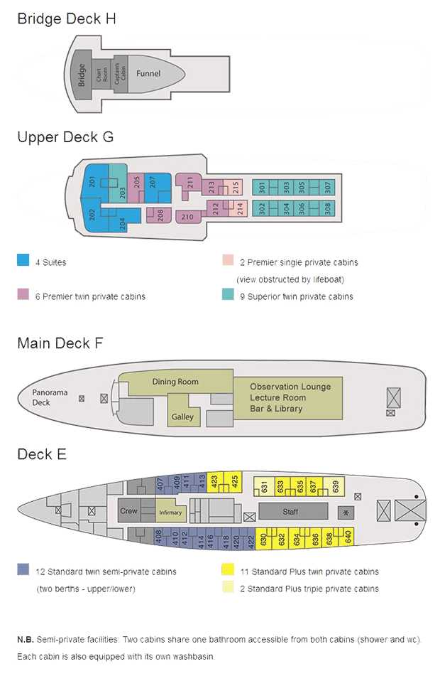 Ushuaia deck plan showing four levels in detail