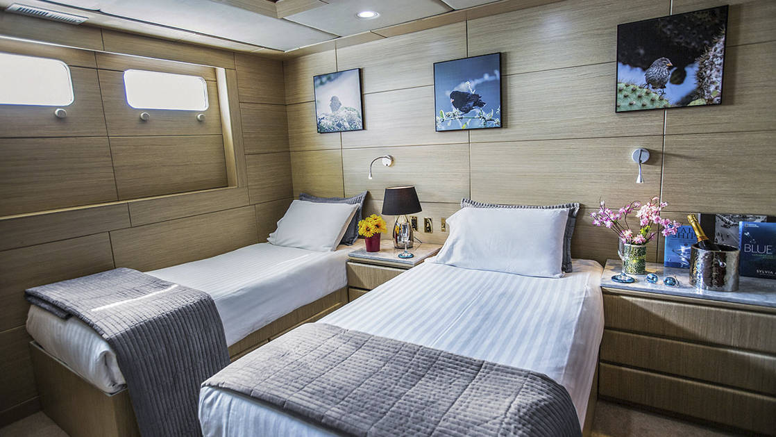 Stateroom with twin beds aboard WildAid's Passion.