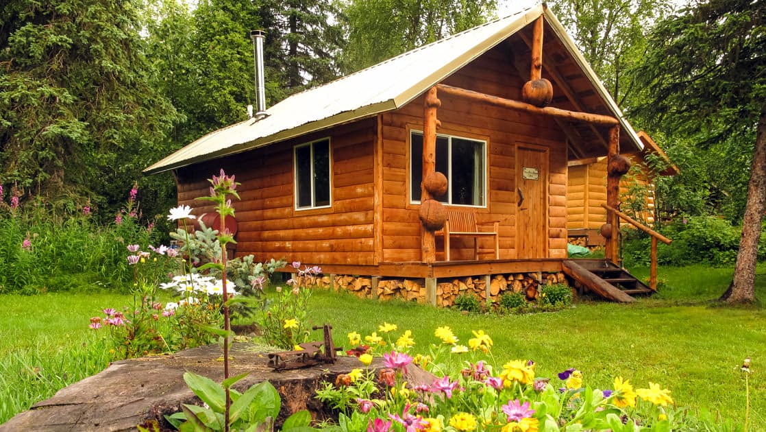A wood cabin with a chimney pipe and windows sits on a grassy knoll with wildflowers and pine trees at Winterlake Lodge, an Alaska resort recognized by National Geographic for its wilderness experience