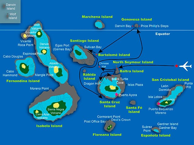 Galapagos cruise route map showing visits to Baltra, Santa Cruz, Chinese Hat, Genovesa, Bartolomé and Santiago islands.