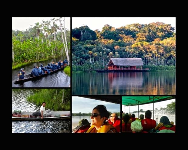 Collage of canoe ride with Amazon travelers down the Napo River, thatched hut on the Napo River, local in a canoe, Amazon travelers in a open air boat.