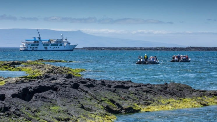 Two zodiac boats take passengers between the Galapagos Islands and the Yacht Isabela II, one of the most luxurious cruises in the area.