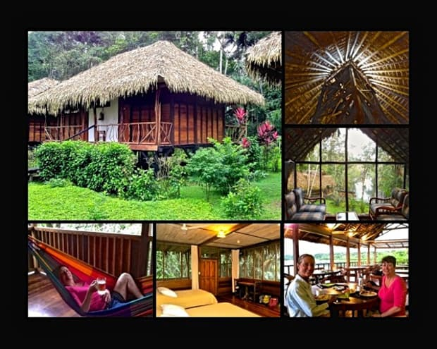 Thatched roof cabana, lobby with floor to ceiling windows looking int the jungle, happy traveler lounging in a hammock, cabana with 2 beds and windows, travelers enjoying lunch in the open air dining room in Sacha Lodge.