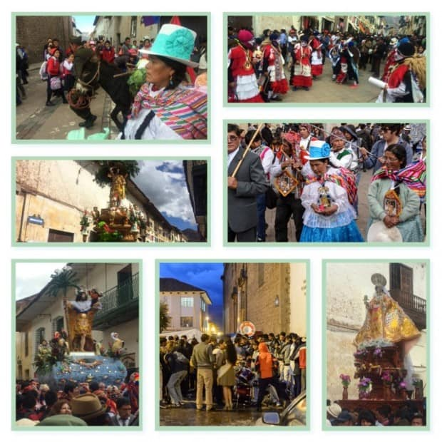 Groups of local people in Cusco at a Corpus Cristi festival with traditional clothing, holding statues of patron saints, parade and music.