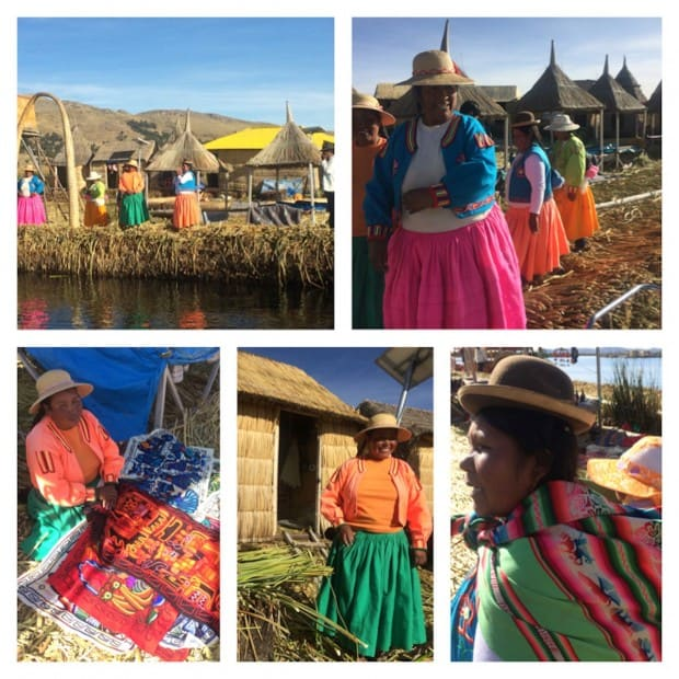 Floating reed islands on Lake Titicaca with the Uru people in traditional clothing and thatched huts and colorful textiles.