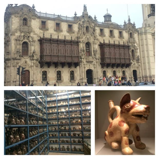City of Lima with a cathedral and pre-Columbian animal art.