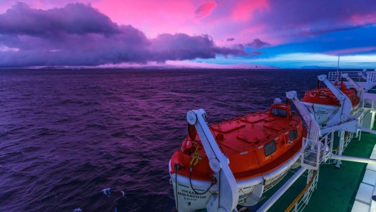 A view of the sunset from the deck on board the explorers and kings expedition cruise to antarctica