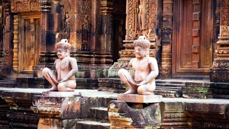 statues in the Southeast Asia temples of ankor wat, a world heritage site