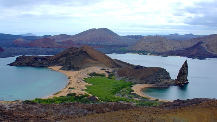 An aerial view of Bartolome Island in the Galapagos, where guests aboard the Grace cruise will see wildlife