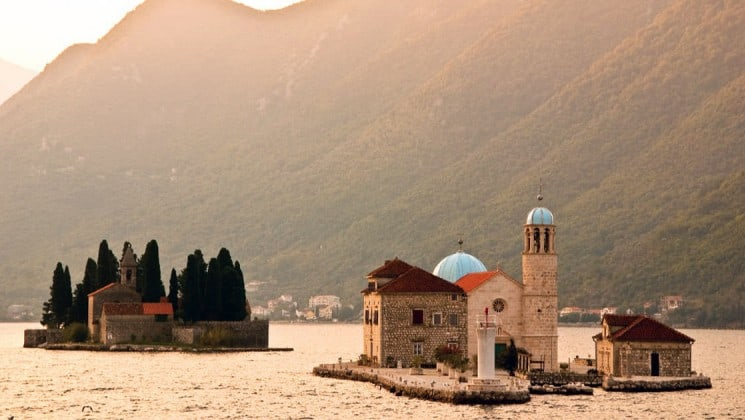 A church on a small island in the mediterranean, as seen on the under sail small ship cruise