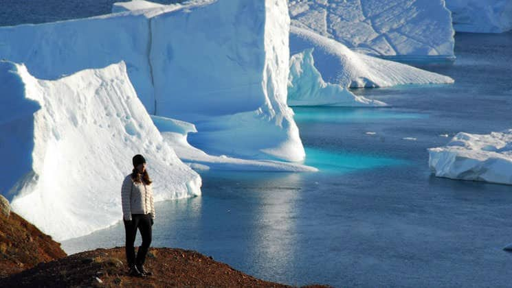 icebergs jut out of cerulean blue waters while a passenger from the arctic express hikes on the tundra in the foreground