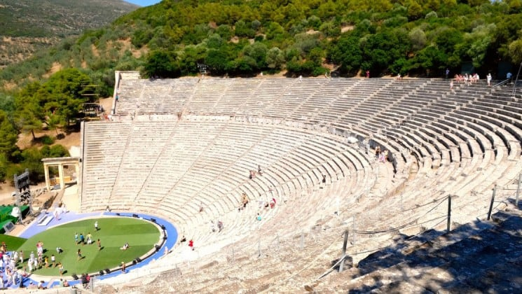 the ancient great theater in epidaurus greece