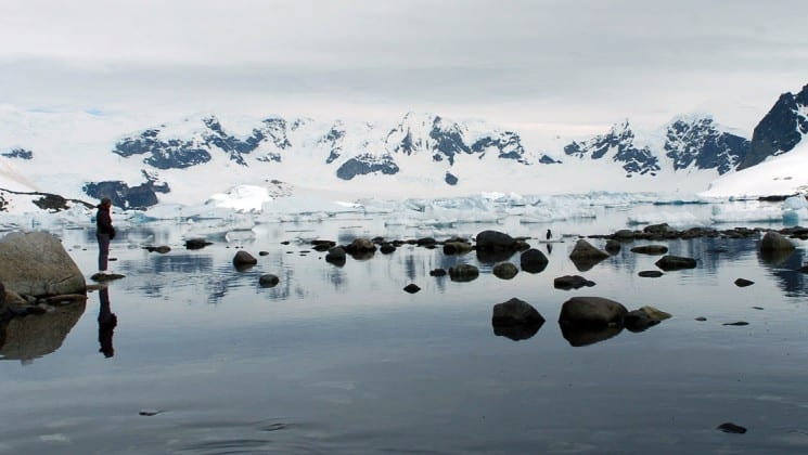 A landscape photo of antarctica with icebergs, rocks, and snowy mountains