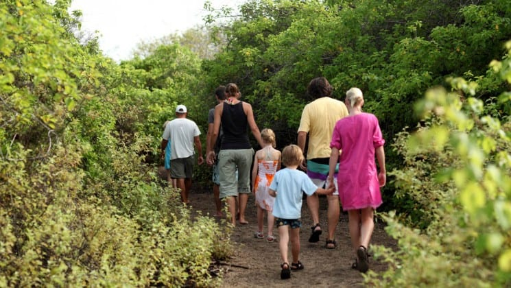 A group of adults holding the hands of children walk down a trail into a dense thicket on the Galapagos Islands