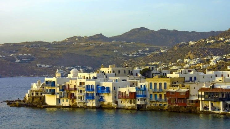 The of Mykonos, an island in the Cyclades group in the Aegean Sea, with greek architecture