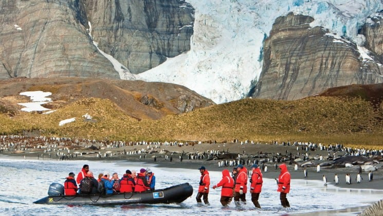 Passengers from the national geographic expedition to the falklands and south georgia step off a zodiac boat onto a beach with snowy mountains in the background