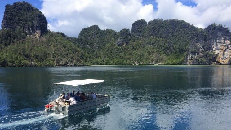 a covered boat motors guests to a day's excursion on land at papua new guinea in the pacific islands
