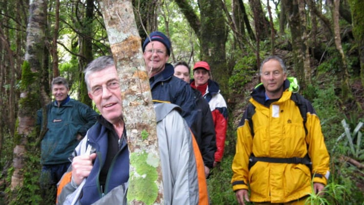 a group of hikers pose for a photo in the forest during a walking tour of new zealand's fiordlands