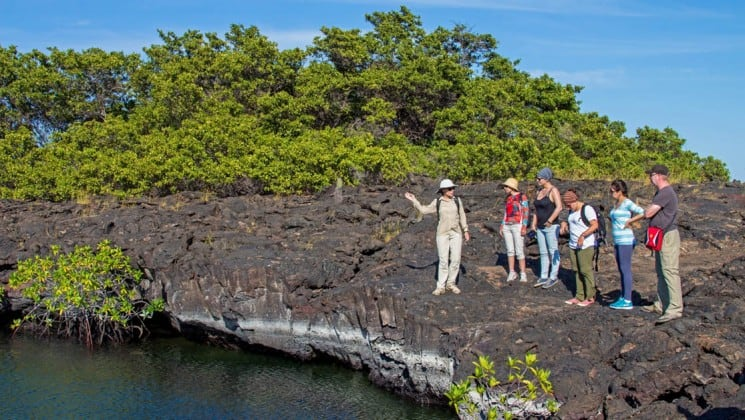 a group of guests from the Wildaid's Passion luxury cruise take an excursion to land to explore the Galapagos islands on lava rock