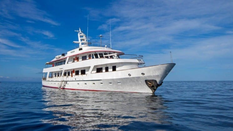 A luxury yacht, the Wildaid's Passion motors over calm, blue waters with the sky and clouds in the background at the Galapagos islands
