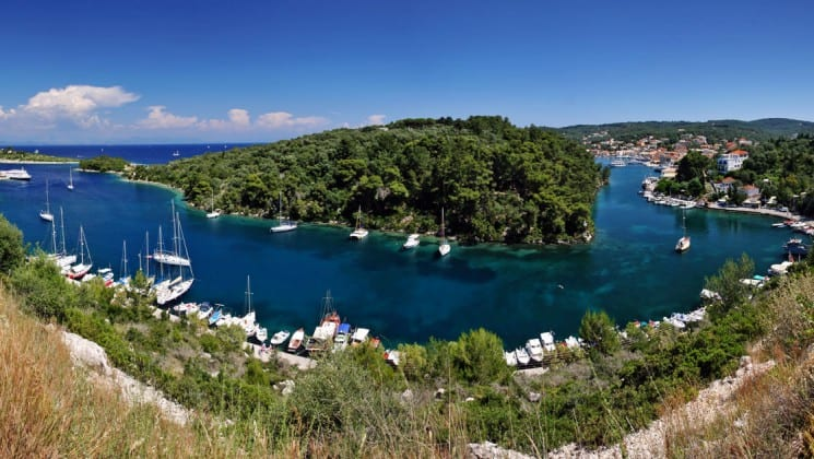 An aerial view of paxos, an island in greece