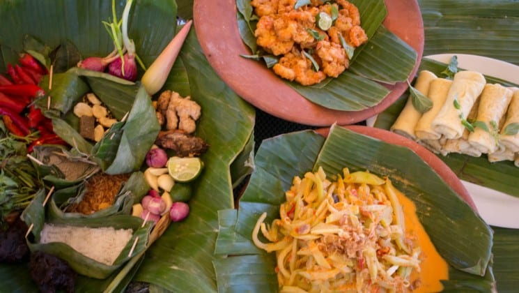 Fresh vegetables and seafood are served with local cuisine during a cruise through the Indonesia spice islands