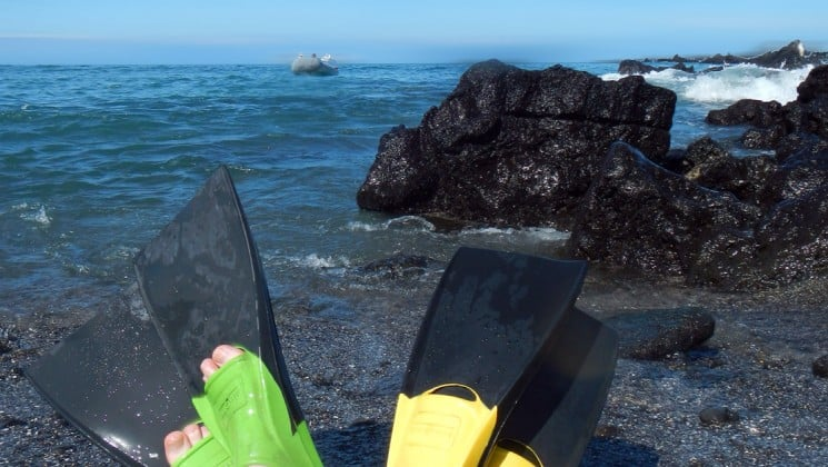 Two people's feet in flippers on a beach in front of the ocean, taking a break from a snorkel excursion in the Galapagos Islands while aboard the Coral cruise ships.