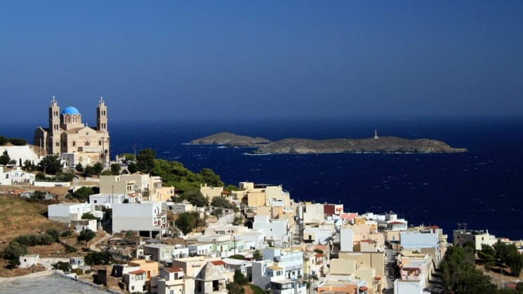 A view of a town on Syros, overlooking the aegean sea