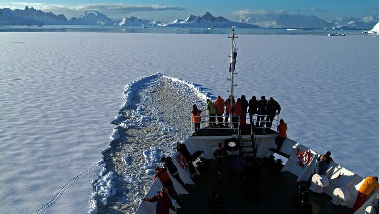 The view of the trail cut through the sea ice by an icebreaker ship in antarctica