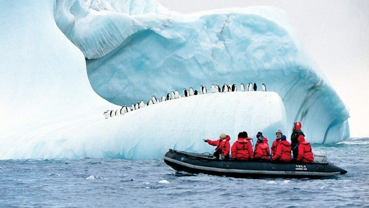 a zodiac boat full of passengers motors past an iceberg where penguins stand on top in antarctica