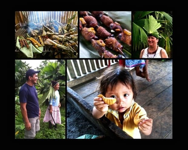 Palm weevil grubs shish-kabobs, hat made of palm frawns, local couple in the jungle, small child holding a grub.