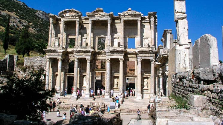 Ruins of the library in Ephesus in Turkey