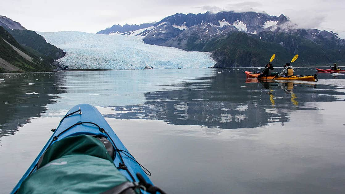 View from a blue kayak sitting in still water in front of a large, icy-blue glacier, seen during the Alaska's Fjords & Glaciers small ship cruise.