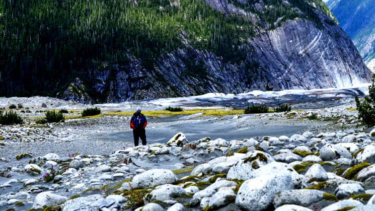adventure traveler standing in a stream with rocks in the foreground and sheer cliffs and forest in the background