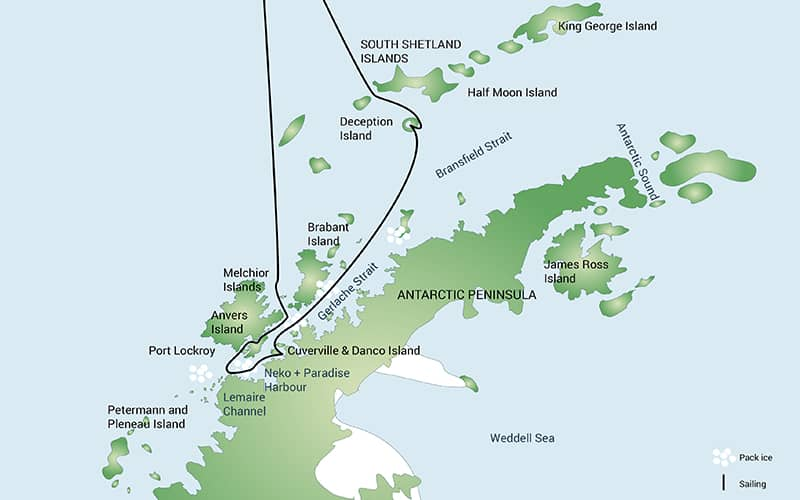 Route map of 11- or 12-day Antarctic Peninsula Including South Shetland Islands voyage, operating round-trip from Ushuaia, Argentina, with stops along the Antarctic Peninsula & South Shetland Islands.