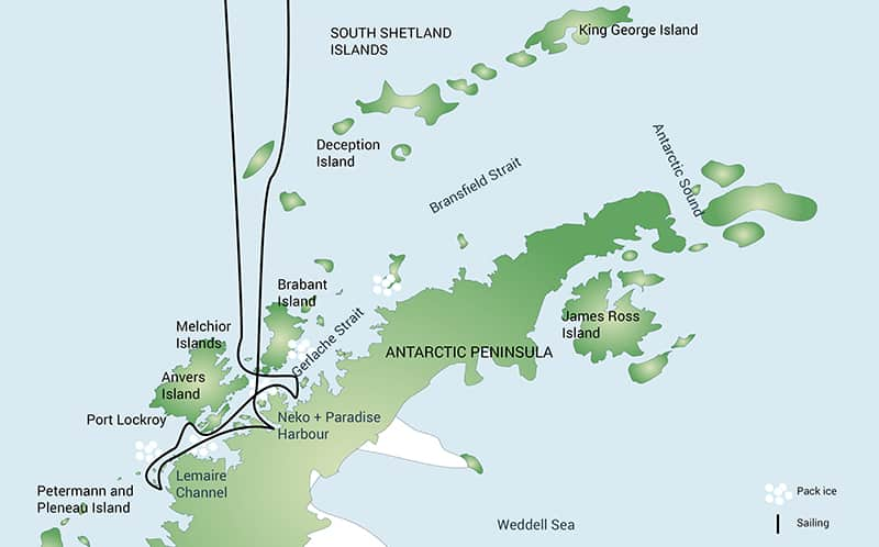 Route map of Antarctic Peninsula small ship expedition cruise, operating round-trip from Ushuaia, Argentina, with visits to various sites in Antarctica.