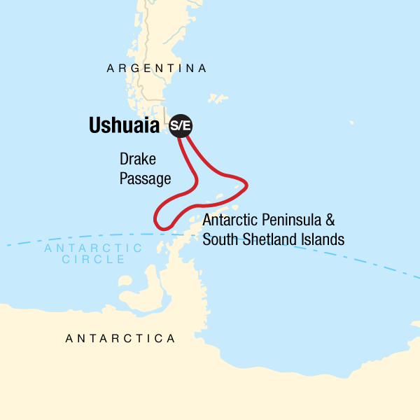Route map of Antarctic Peninsula aboard Expedition small ship voyage, operating round-trip from Ushuaia, Argentina with stops along the Antarctic Peninsula & South Shetland Islands.