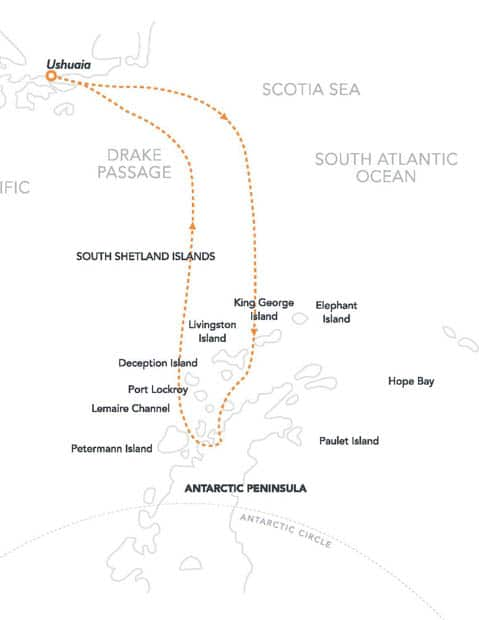 Route map of Antarctic Latitudes Antarctica small ship cruise roundtrip from Ushuaia, Argentina with stops at the South Shetland Islands and the Antarctic Peninsula.