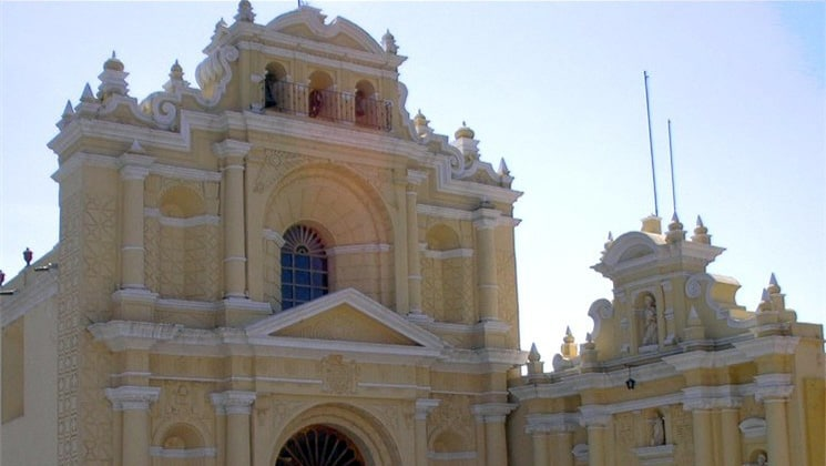 A yellow cathedral in Antigua, Guatemala