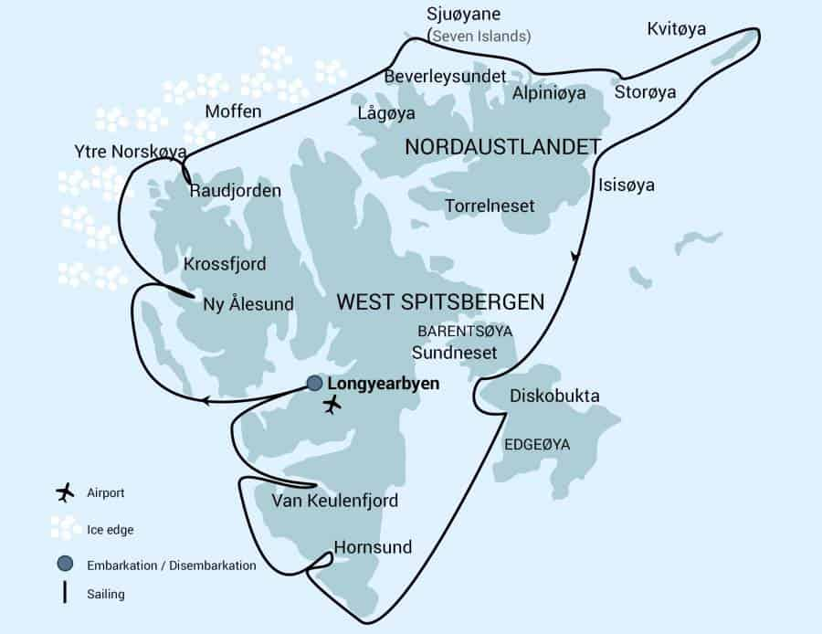 Route map of Around Spitsbergen - Kvitoya, In the Realm of Polar Bear & Ice voyage, operating round-trip from Longyearbyen, Norway and circumnavigating the island with aim to visit its northeastern sub island.