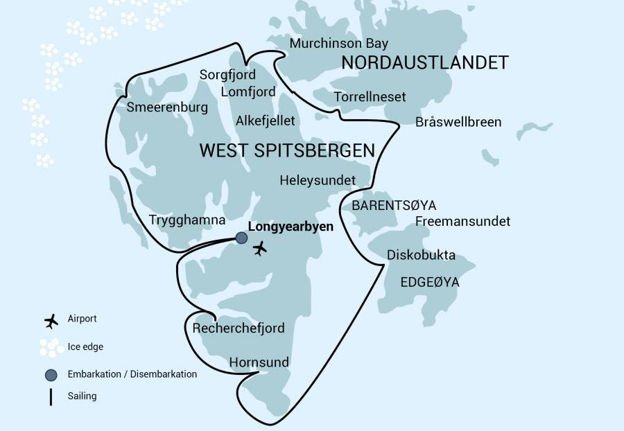 Route map of Sailing Around Spitsbergen arctic voyage, operating round-trip from Longyearbyen, Norway, and completing a full circumnavigation.