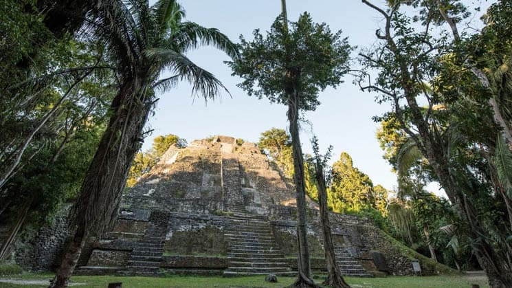 A stone temple in Belize's Lamanai Archaeological Reserve.